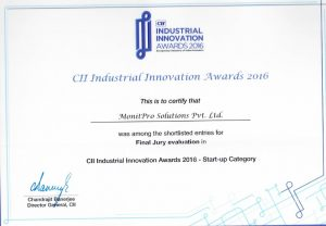 MonitPro-CII Industrial Innovation Award Certificate 2016